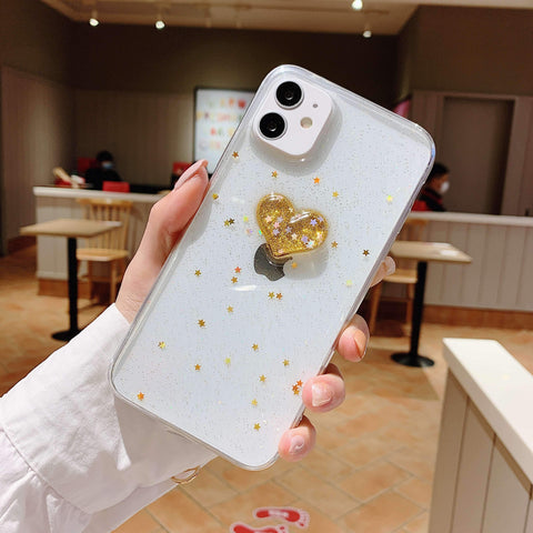 Glitter Colored Heart Pattern Little Star Detail Phone Case for Samsung gallery 11