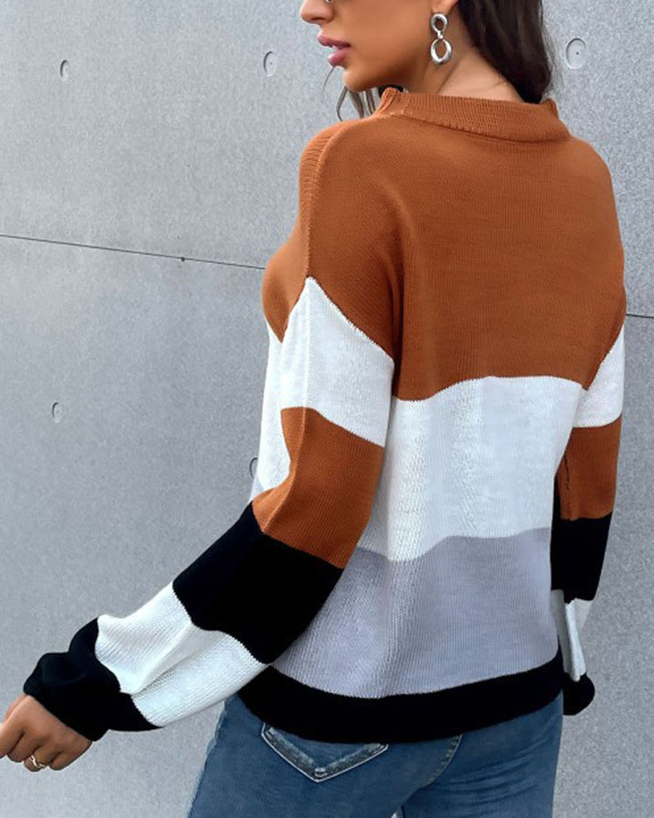 Colorblock Rib-Knit Round Neck Sweater gallery 4