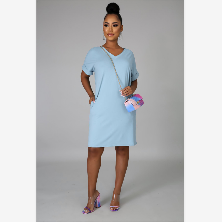 V-Neck Turn Up Sleeve Mini Dress