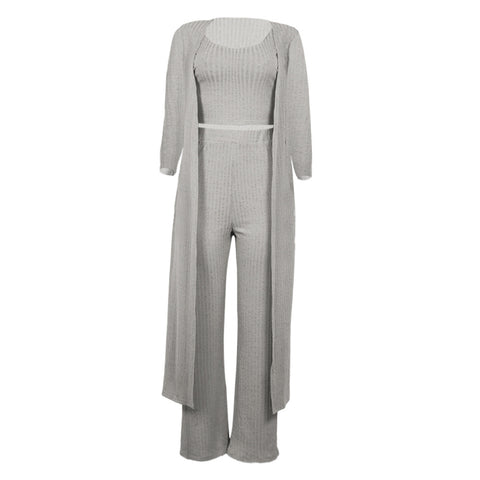Knit Scoop Neck Ribbed Wide Leg Top & Cardigan & Pants Set gallery 4