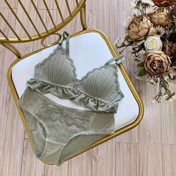 Triangle Cup Front Buckle Bra and Panty Set