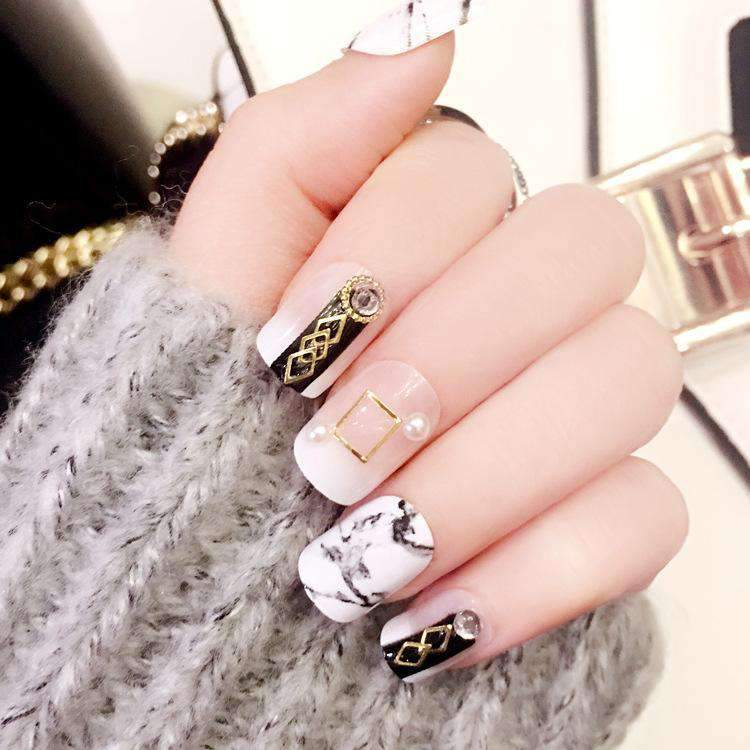 Chic Marble Ribbon Magic Press On Nail Manicure