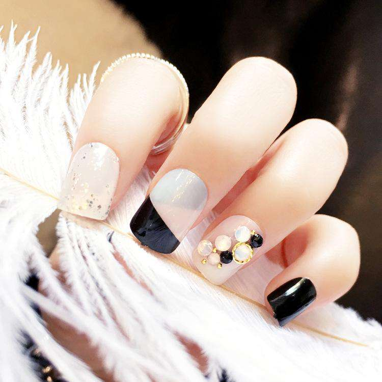 Opal Rhinestone Magic Press On Nail Manicure