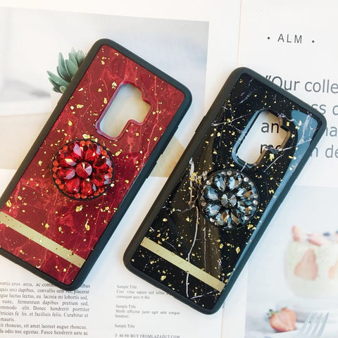 Luxury Marble Texture Gold Foil Phone Case for Samsung with Phone Holder
