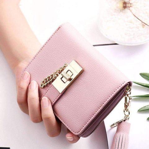 Cow Leather Cute Pink All-Match Short Sized Wallet With Chain And Tassel Element gallery 8