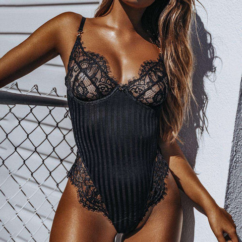 Women's Sexy Lingerie Lace And Stripes Pattern Matching Bodysuit
