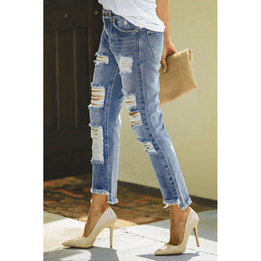 Loose Ankle Frayed Ripped Mom Jeans