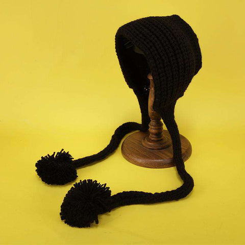 Hand-made Cute Warm Knitted Woolen Ear Hat with Long Braid gallery 5