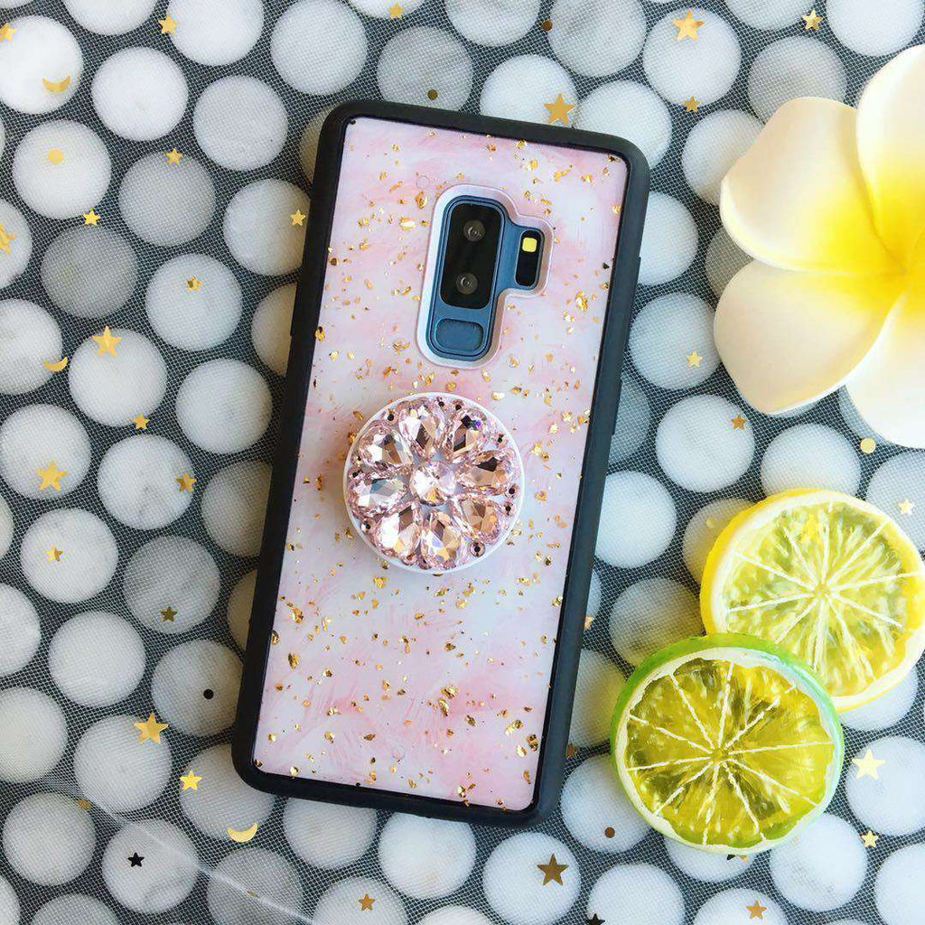 Pink Gold Foil Samsung Case with Phone Holder