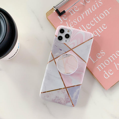 Stitching Plaid Marble Phone Case for Samsung with Phone Holder gallery 7