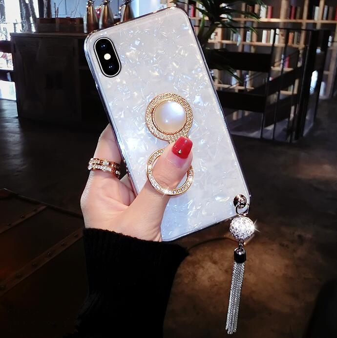 Elegant Shell Glittering iPhone Phone Case With Shining Phone Ring Stand