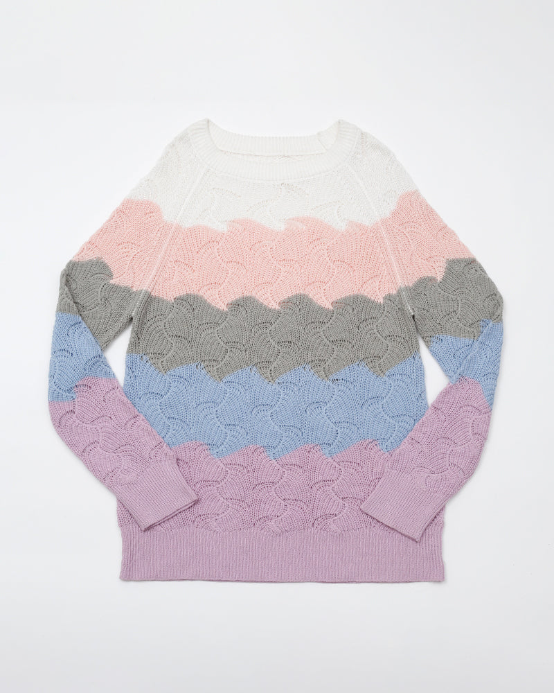 Cut And Sew Pointelle Knit Sweater