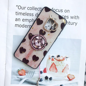Vintage Heart Pattern Gold Foil Samsung Case with Phone Holder and Hand Strap