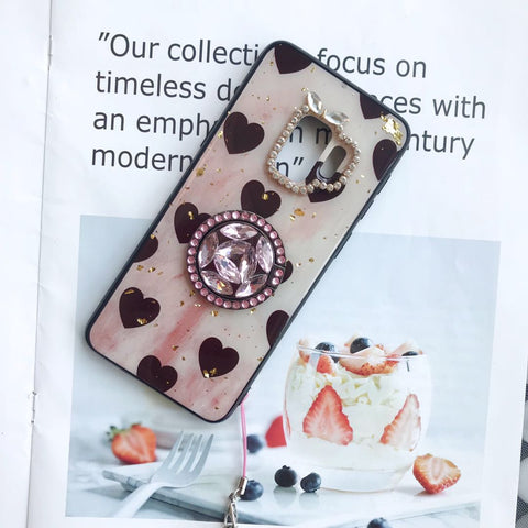 Vintage Heart Pattern Gold Foil Samsung Case with Phone Holder and Hand Strap gallery 5