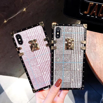 Contracted Flannel Full Cover Anti-Fall Phone Case for iPhone with Strap