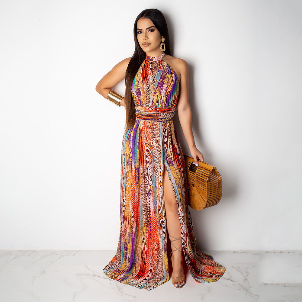 Tie Dye Halterneck Split Maxi Dress