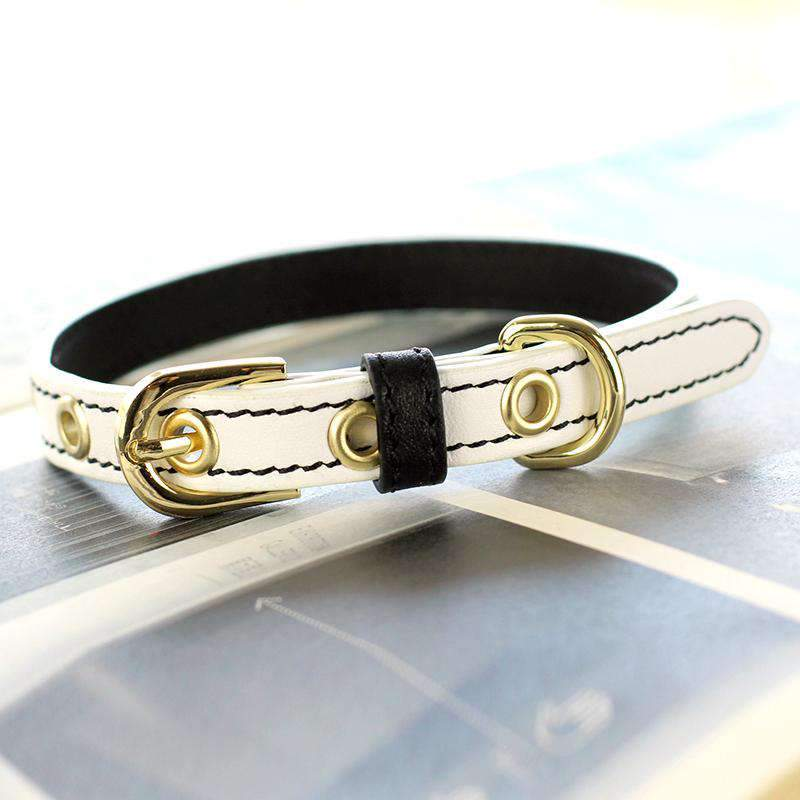 Cute Beige Print Leather Pet Collar For All Pets