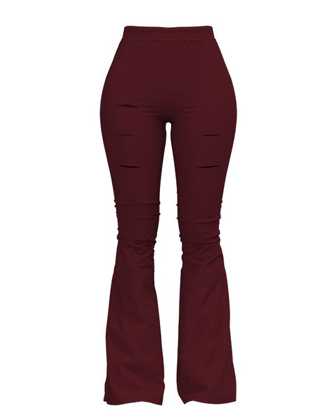 Solid Cut Out High Waist Flare Pants gallery 3