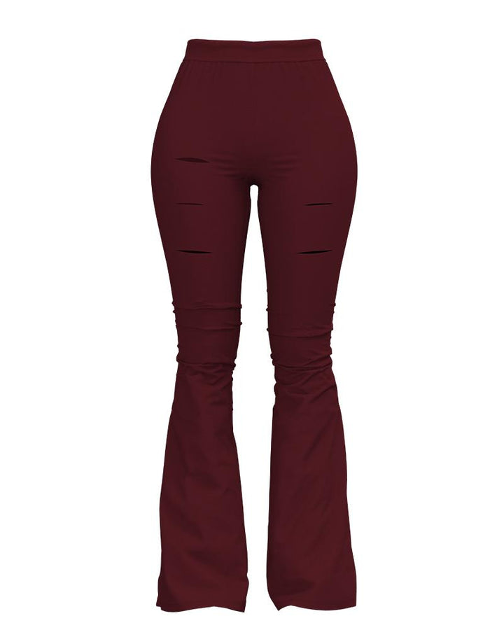 Solid Cut Out High Waist Flare Pants gallery 6