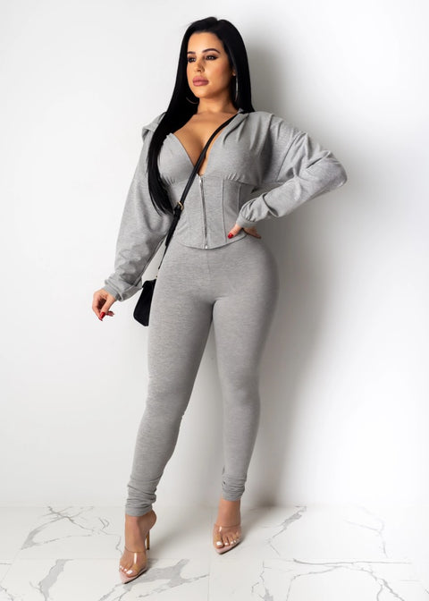Corset Plunge Zippered Front Hooded Top & Pants Set gallery 3