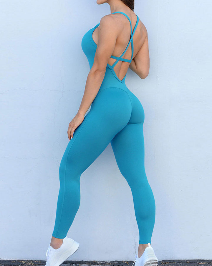 Criss Cross Cut Out Back Sports Jumpsuit gallery 1