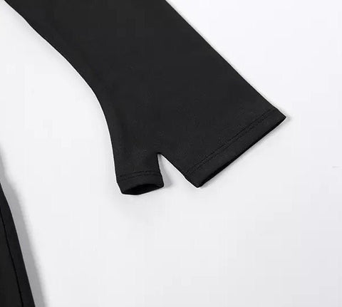 Two Tone Letter Print Fingerless Gloves Detail Top & Pants Set gallery 11
