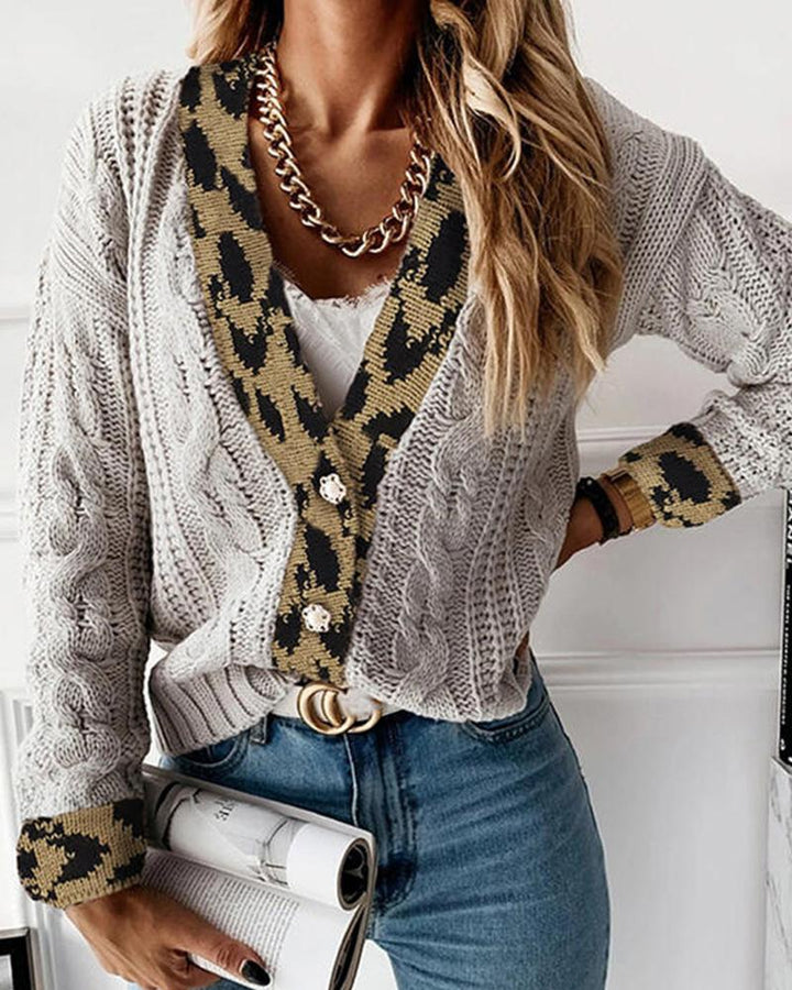 Leopard Print Cable Knit Drop Shoulder Sweater gallery 4