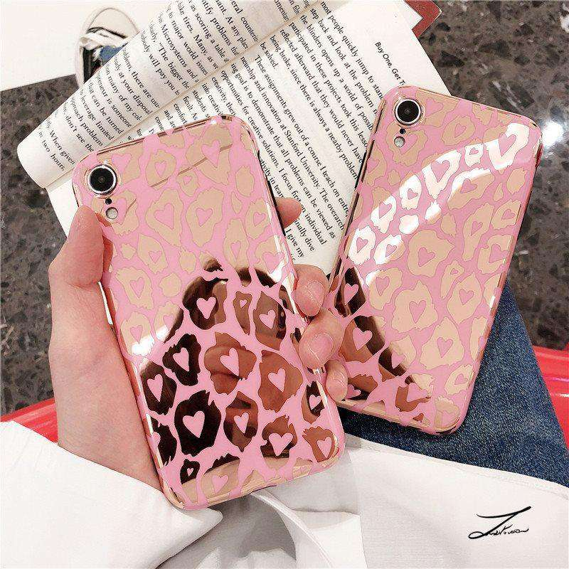 Luxury Pink Leopard Printed iPhone Case