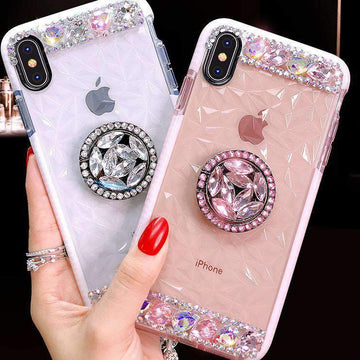 Transparent with Glitter Side Phone Case For All iPhone With Phone Holder & Rope