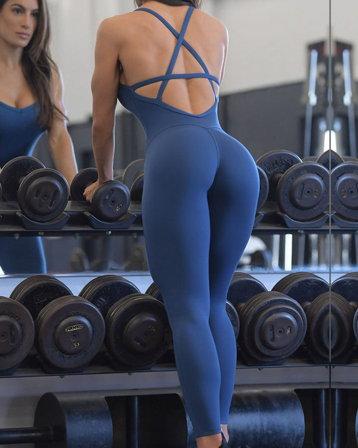 Criss Cross Cut Out Back Sports Jumpsuit gallery 16