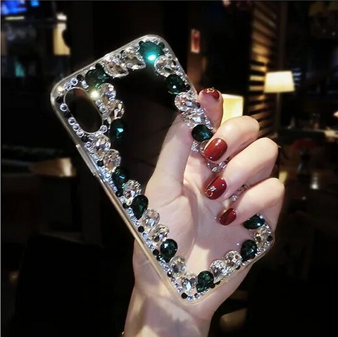 Glittering Rhinestone Side Clear Transparent Phone Case for Samsung gallery 8