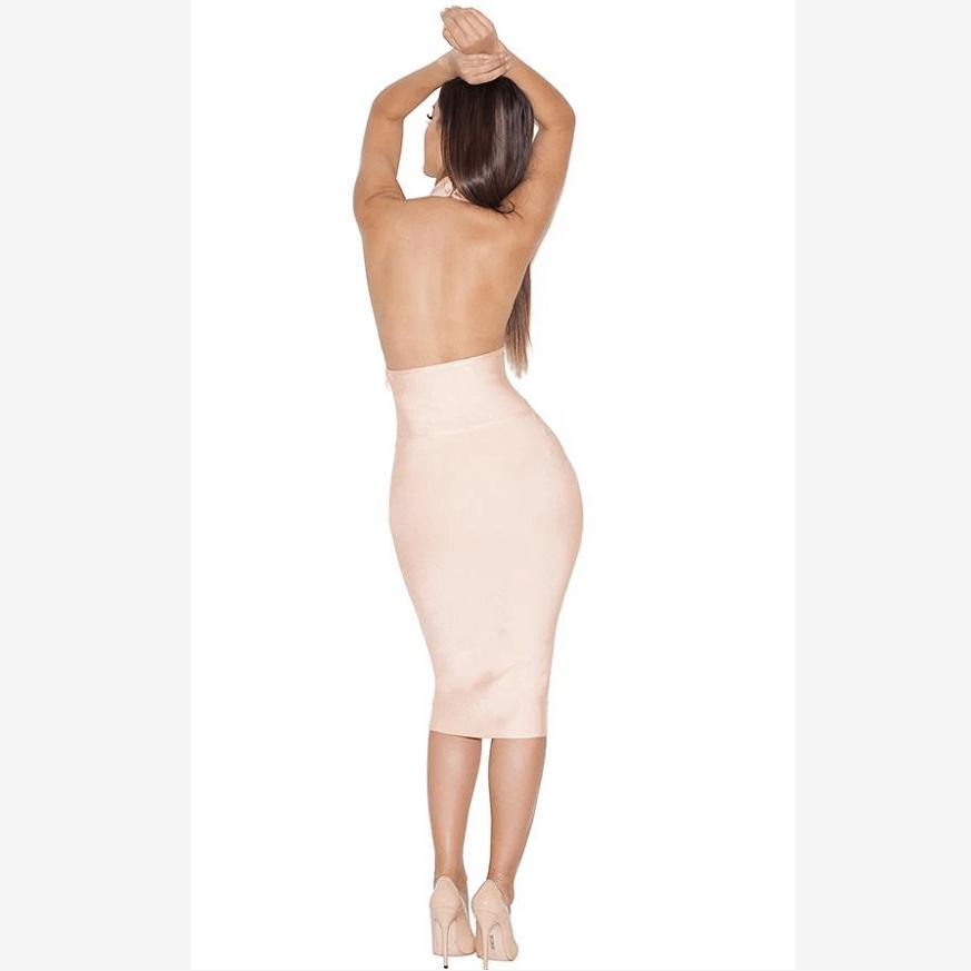Crew Neck Backless Cut Out Detail Bandage Dress