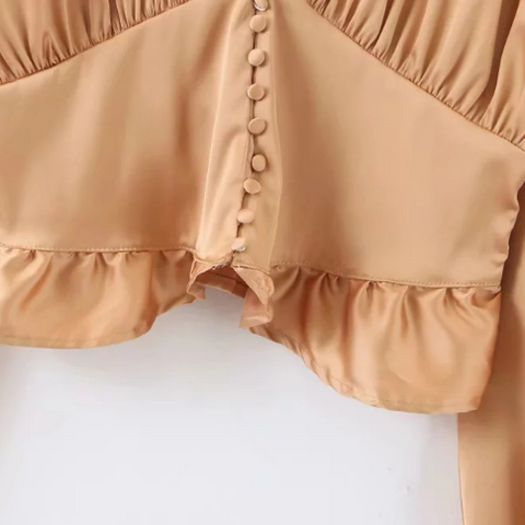 Satin V-neck Button Front Ruched Ruffle Trim Blouse gallery 5