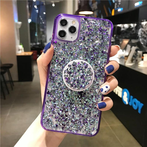Four Colors Glittering Rhinestone Phone Case for Samsung with Phone Holder gallery 13