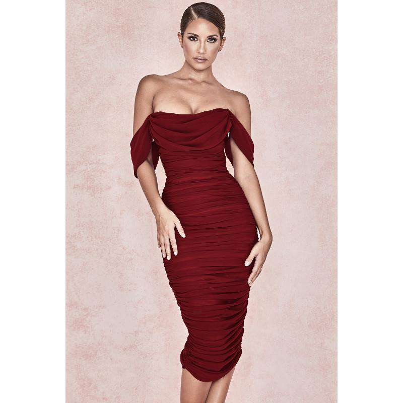 Off Shoulder Ruched Bandage Dress