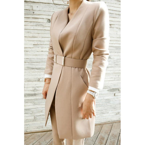 Beige Long Belted Blazer Pants Set