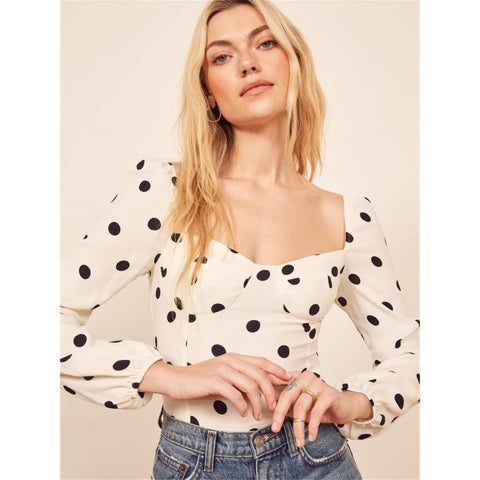 Polka Dot Print Sweetheart Neck Top