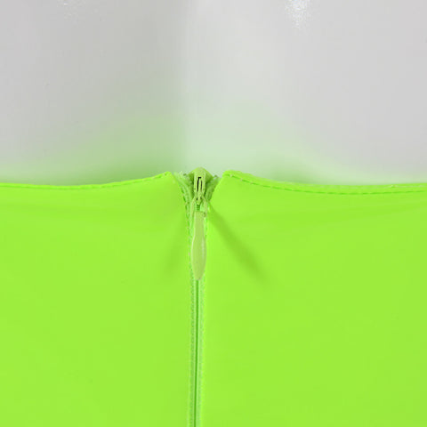 Sexy Lime Square Neck Patent Leather Bodycon Mini Dress gallery 7