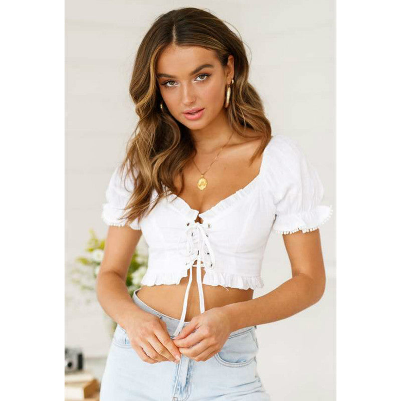 Puff Sleeve Frilled Hem Low Neckline Lace Up Crop Top