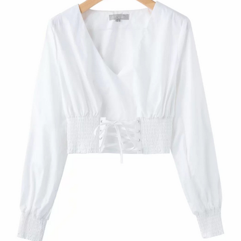 White Criss Cross Elastic Ruched Waist V-neck Cropped Shirt gallery 3