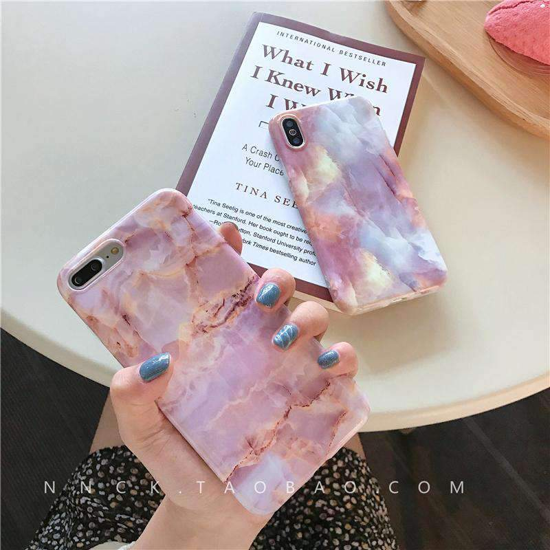 Vintage Pink Marble Effect iPhone Case