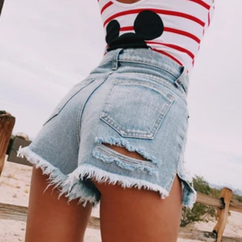 High Waist Frayed Style Ripped Denim Shorts