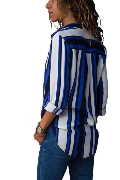 Blue White Striped Long Sleeve Button Down Shirt gallery 2