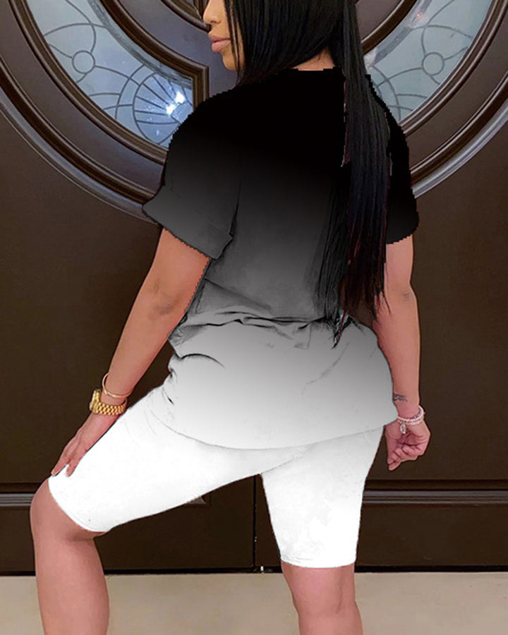 Ombre Short Sleeve Top & Shorts Set gallery 8