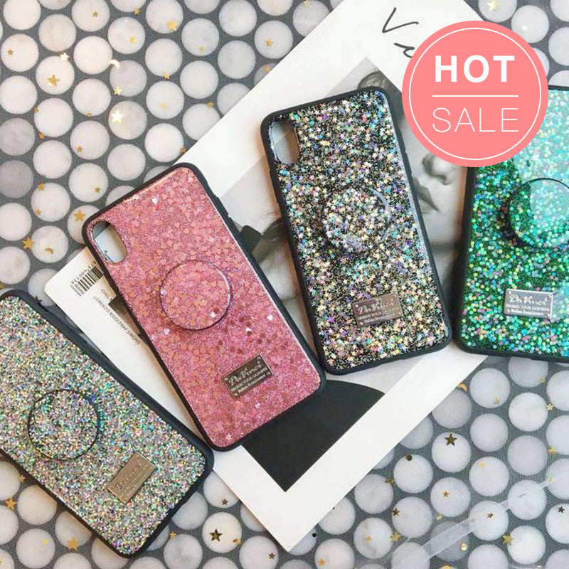 Luxury Bling Drop Glue iPhone Case with Phone Holder
