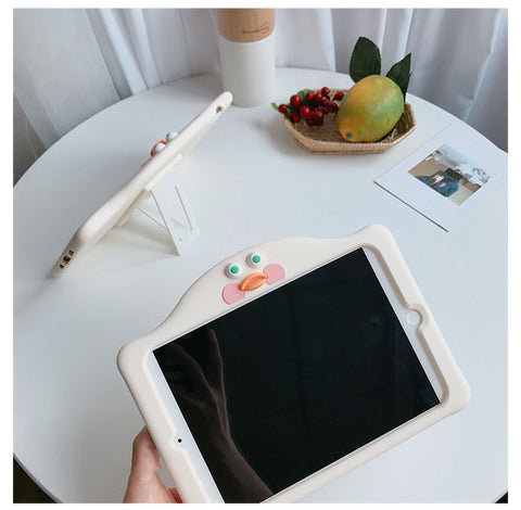 Solid Color with Cute Cartoon Pattern Silicone Apple iPad Cover Case gallery 4