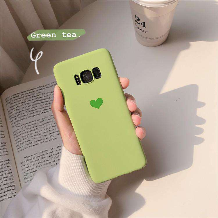 Silicone Solid Candy Color Heart Pattern Samsung Case