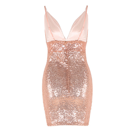 Sexy Low Cut Glitter Sequin Strappy Bodycon Dress gallery 8