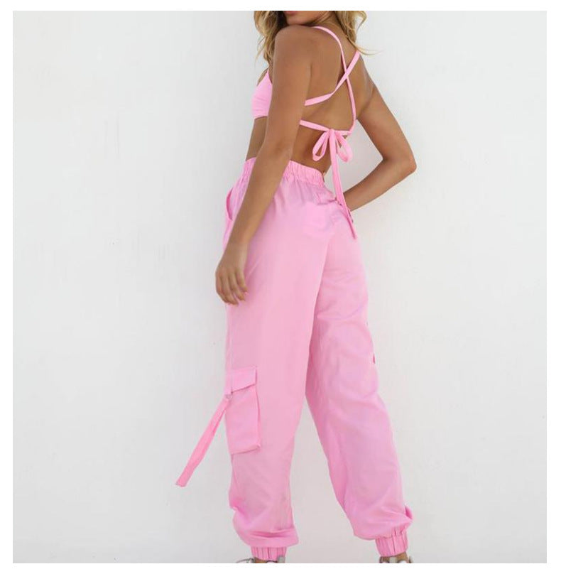 Strappy Back High Waist Pocket Detail Camisole & Pant Set