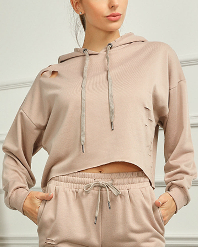 Ripped Drop Shoulder Drawstring Hoodie